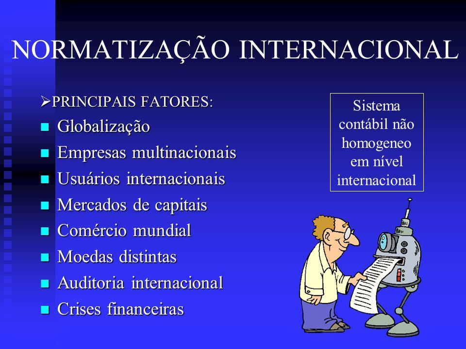 NORMATIZAÇÃO INTERNACIONAL  PRINCIPAIS FATORES:  Globalização  Empresas multinacionais  Usuários internacionais  Mercados de capitais  Comércio mundial  Moedas distintas  Auditoria internacional  Crises financeiras Sistema contábil não homogeneo em nível internacional