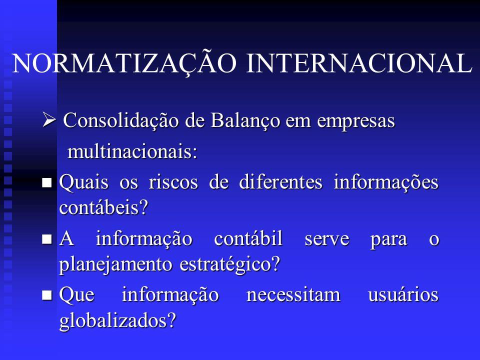 NORMATIZAÇÃO INTERNACIONAL  Consolidação de Balanço em empresas multinacionais: multinacionais:  Quais os riscos de diferentes informações contábeis.