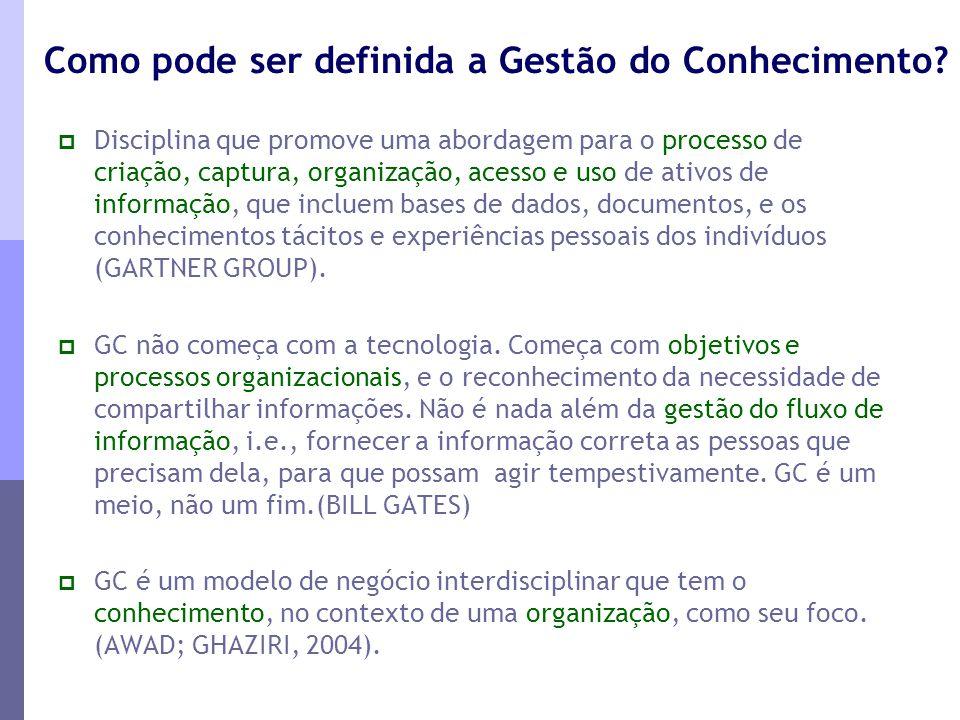 Como pode ser definida a Gestão do Conhecimento?  Disciplina que promove uma abordagem para o processo de criação, captura, organização, acesso e uso