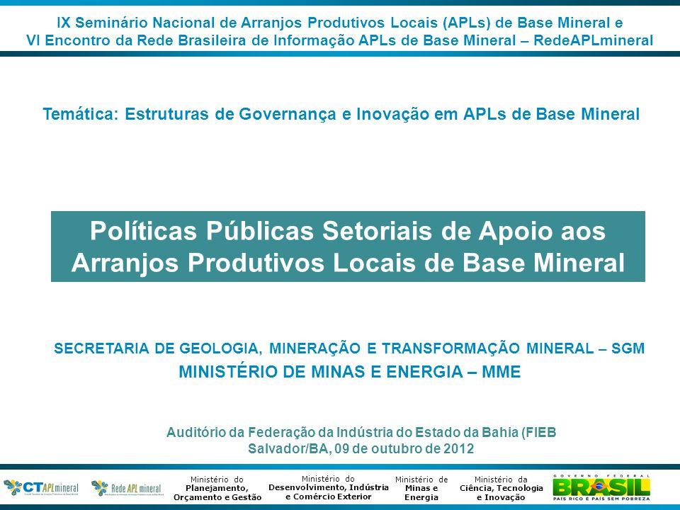 Ministério de Minas e Energia Ministério da Ciência, Tecnologia e Inovação Ministério do Desenvolvimento, Indústria e Comércio Exterior Ministério do Planejamento, Orçamento e Gestão Sumário 1.Público Alvo: Arranjos Produtivos Locais de Base Mineral 2.Política Públicas de Apoio aos APLs e APLs de Base Mineral •2ª Geração de Políticas para e nos APLs •Política Setorial da Mineração – Plano Nacional da Mineração 2030 •Política Industrial - Plano Brasil Maior – Agenda Setorial da Mineração •Principais Diretrizes 3.Estrutura de Governança de políticas de apoio aos APLs e APLs de Base Mineral 2.1 Estrutura institucionais, atores e agentes atuantes 2.2 Metodologia de estruturação e desenvolvimento 2.3.