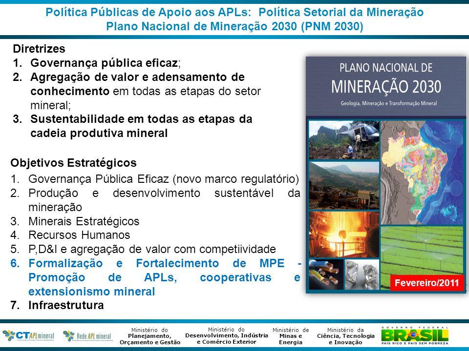 Ministério de Minas e Energia Ministério da Ciência, Tecnologia e Inovação Ministério do Desenvolvimento, Indústria e Comércio Exterior Ministério do Planejamento, Orçamento e Gestão Política Públicas de Apoio aos APLs: Política Setorial da Mineração Plano Mais Brasil 2012 – 2015 (PPA 2012 -2015) Programa Temático 2041 - Gestão Estratégica da Geologia, Mineração e Transformação Mineral Inclusão de metas e iniciativas no Plano Mais Brasil (PPA 2012-2015) relativas à consolidação, organização e desenvolvimento de APLs de base mineral apoiados pela RedeAPLmineral; Total: 56 APLs