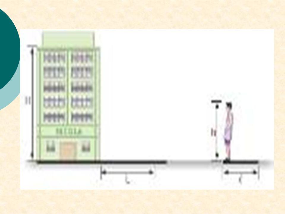 PUC-SP - A um aluno foi dada a tarefa de medir a altura do prédio da escola que freqüentava. O aluno, então, pensou em utilizar seus conhecimentos de