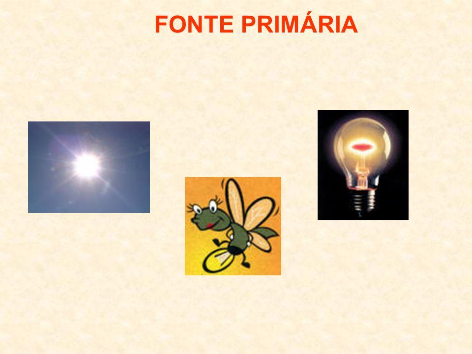 FONTES DE LUZ PRIMÁRIA POSSUI LUZ PRÓPRIA SECUNDÁRIA NÃO POSSUI LUZ PRÓPRIA