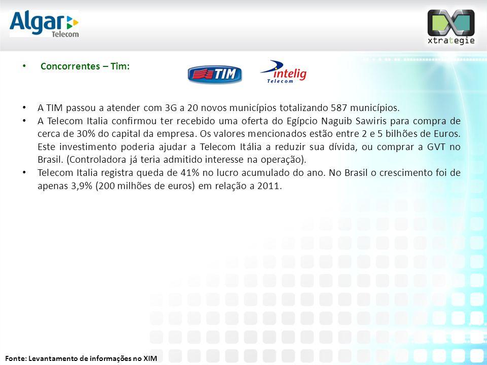 • Concorrentes – Tim: • A TIM passou a atender com 3G a 20 novos municípios totalizando 587 municípios.