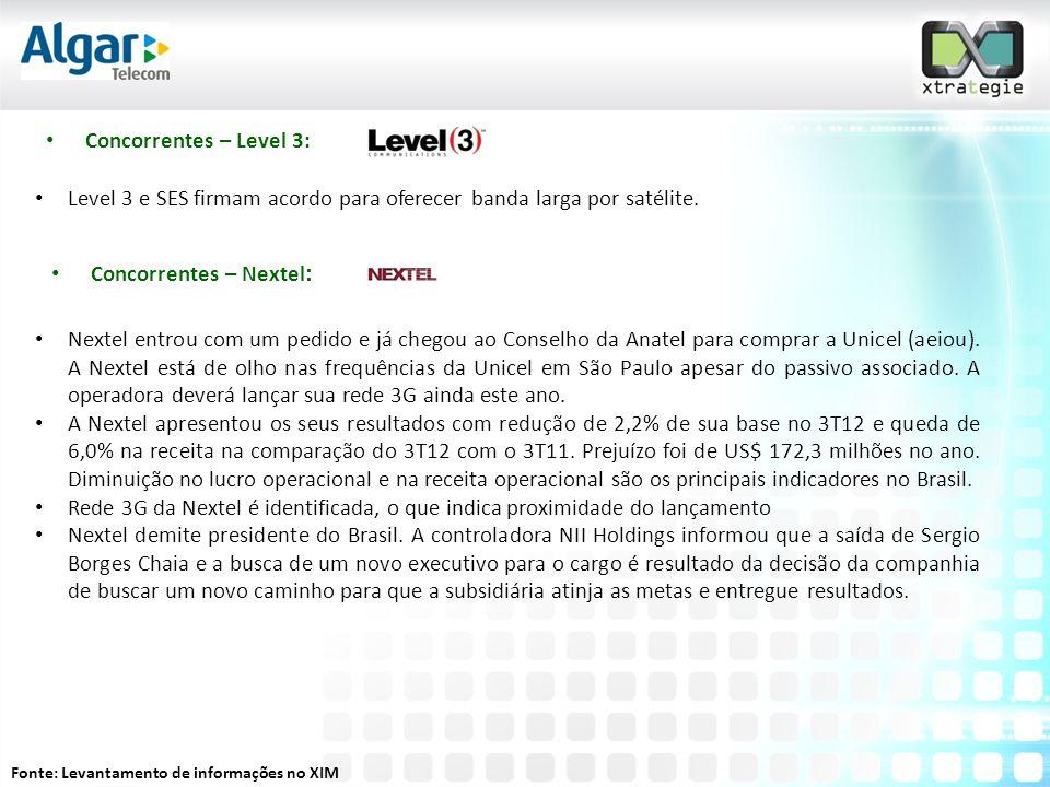 Fonte: Levantamento de informações no XIM • Concorrentes – Nextel : • Nextel entrou com um pedido e já chegou ao Conselho da Anatel para comprar a Unicel (aeiou).