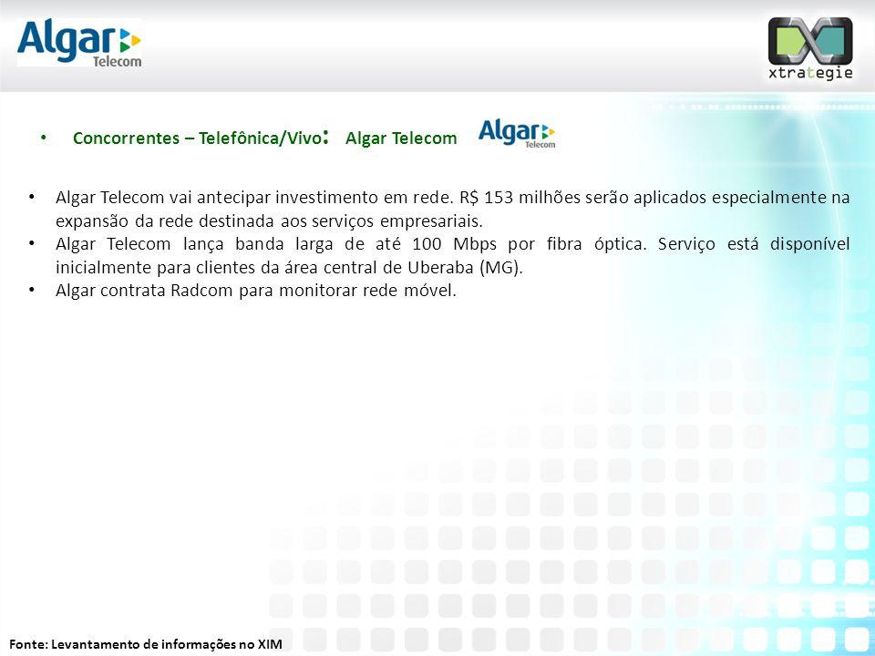 • Concorrentes – Telefônica/Vivo : Algar Telecom • Algar Telecom vai antecipar investimento em rede.