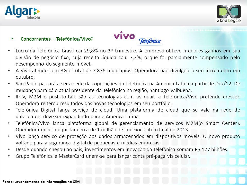 • Concorrentes – Telefônica/Vivo : • Lucro da Telefônica Brasil cai 29,8% no 3º trimestre.