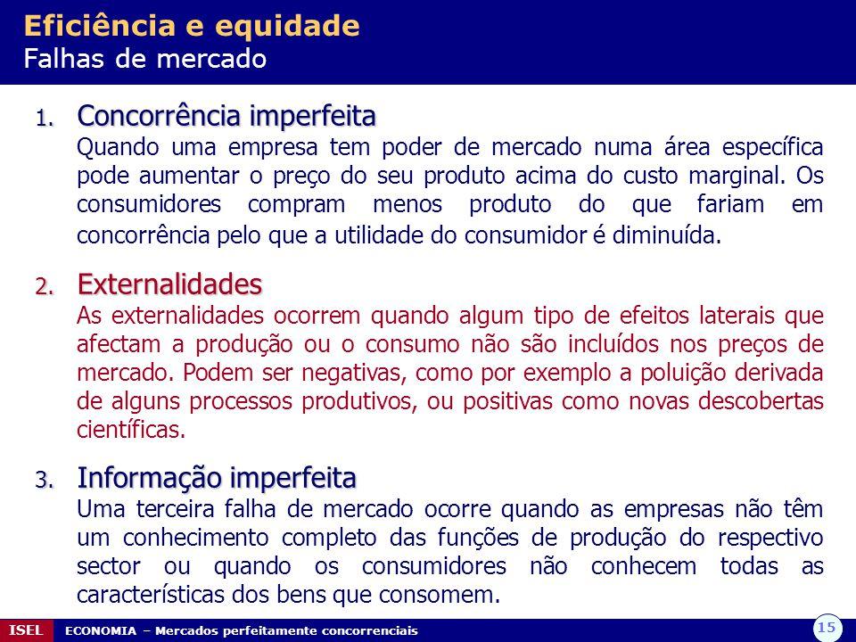 15 ISEL ECONOMIA – Mercados perfeitamente concorrenciais Eficiência e equidade Falhas de mercado 1.