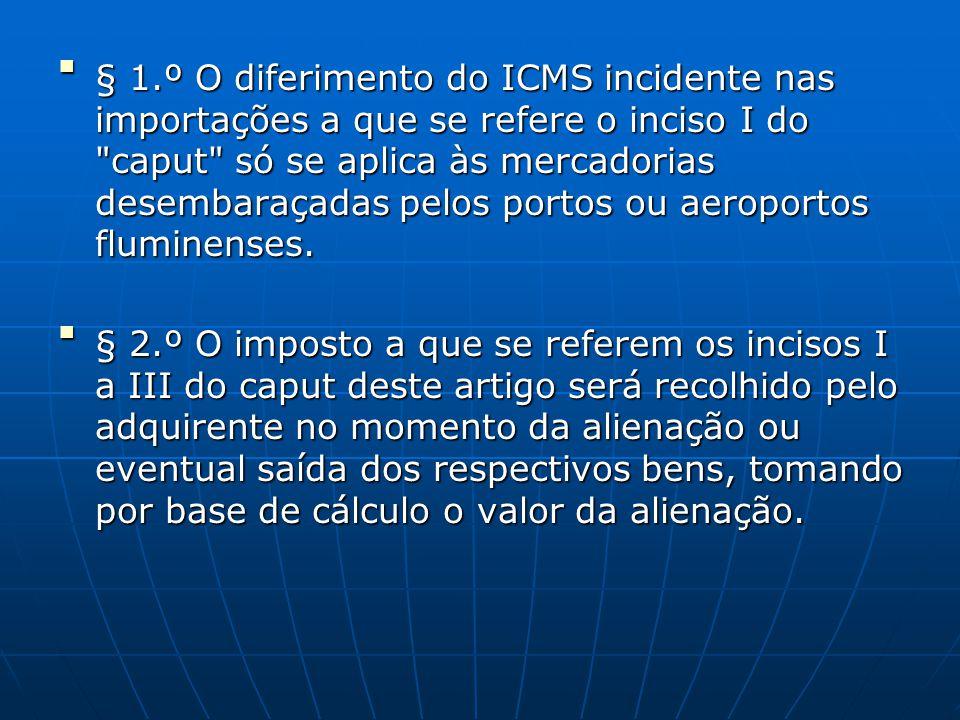  § 1.º O diferimento do ICMS incidente nas importações a que se refere o inciso I do