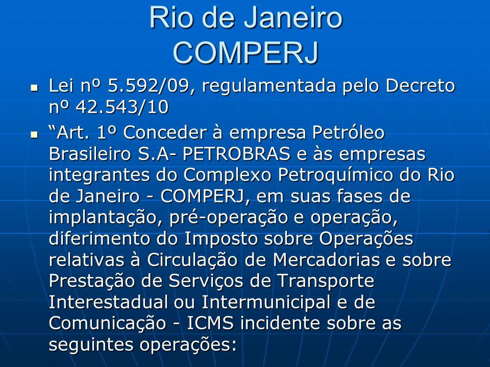 """Rio de Janeiro COMPERJ  Lei nº 5.592/09, regulamentada pelo Decreto nº 42.543/10  """"Art. 1º Conceder à empresa Petróleo Brasileiro S.A- PETROBRAS e à"""