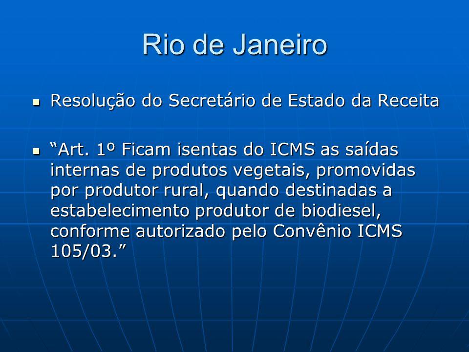 """Rio de Janeiro  Resolução do Secretário de Estado da Receita  """"Art. 1º Ficam isentas do ICMS as saídas internas de produtos vegetais, promovidas por"""