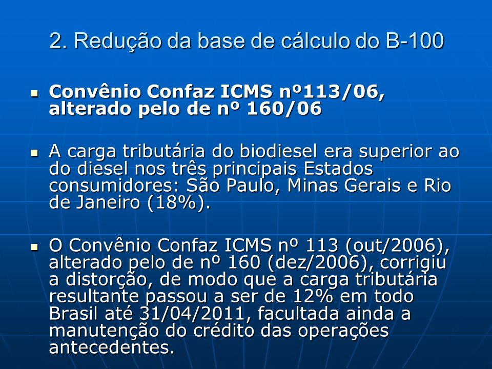  Convênio Confaz ICMS nº113/06, alterado pelo de nº 160/06  A carga tributária do biodiesel era superior ao do diesel nos três principais Estados co