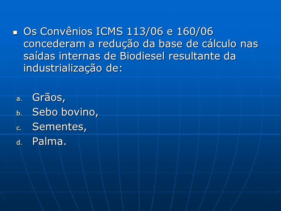  Os Convênios ICMS 113/06 e 160/06 concederam a redução da base de cálculo nas saídas internas de Biodiesel resultante da industrialização de: a. Grã