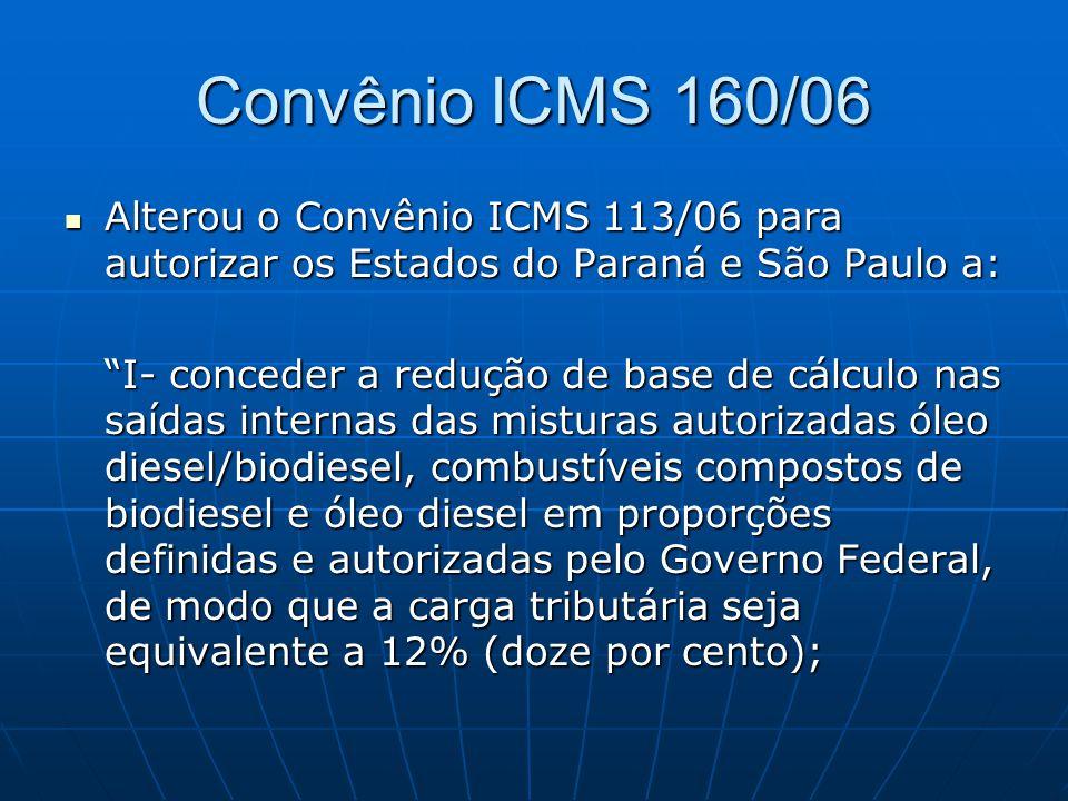 """Convênio ICMS 160/06  Alterou o Convênio ICMS 113/06 para autorizar os Estados do Paraná e São Paulo a: """"I- conceder a redução de base de cálculo nas"""