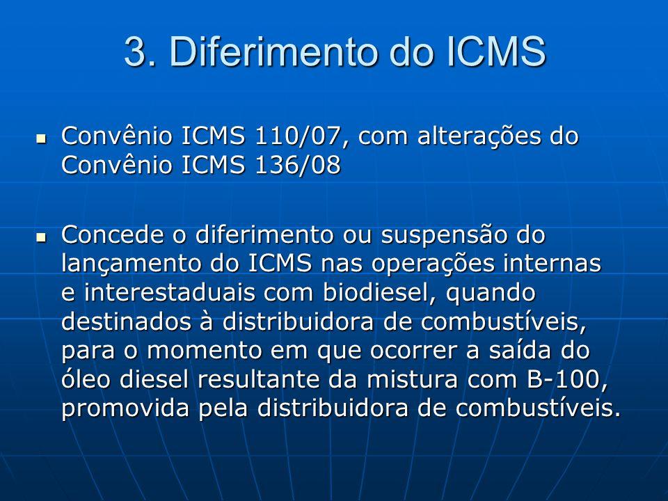  Convênio ICMS 110/07, com alterações do Convênio ICMS 136/08  Concede o diferimento ou suspensão do lançamento do ICMS nas operações internas e int