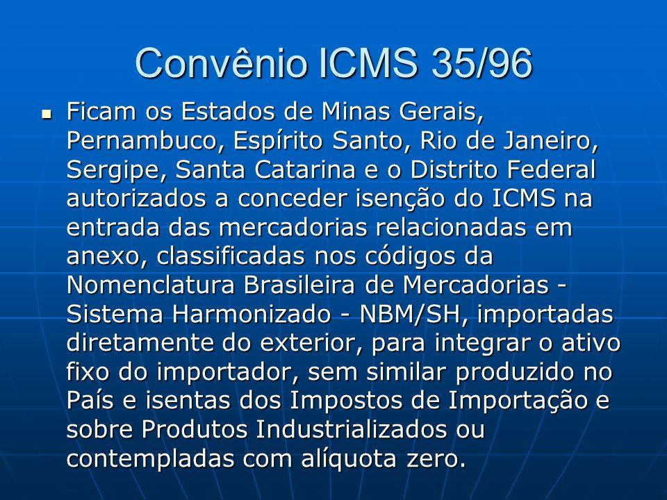 Convênio ICMS 35/96  Ficam os Estados de Minas Gerais, Pernambuco, Espírito Santo, Rio de Janeiro, Sergipe, Santa Catarina e o Distrito Federal autor