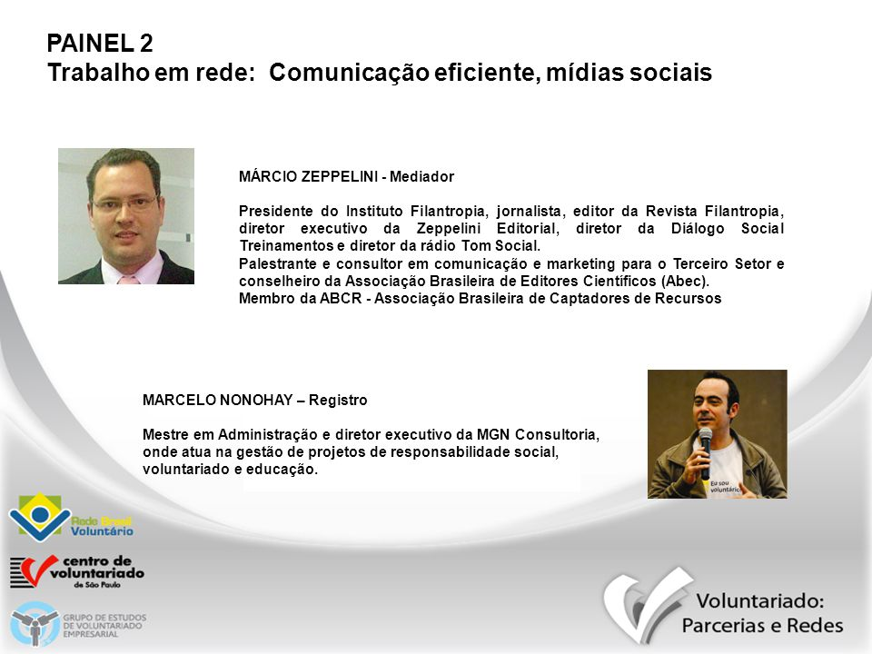 PAINEL 2 Trabalho em rede: Comunicação eficiente, mídias sociais MÁRCIO ZEPPELINI - Mediador Presidente do Instituto Filantropia, jornalista, editor d
