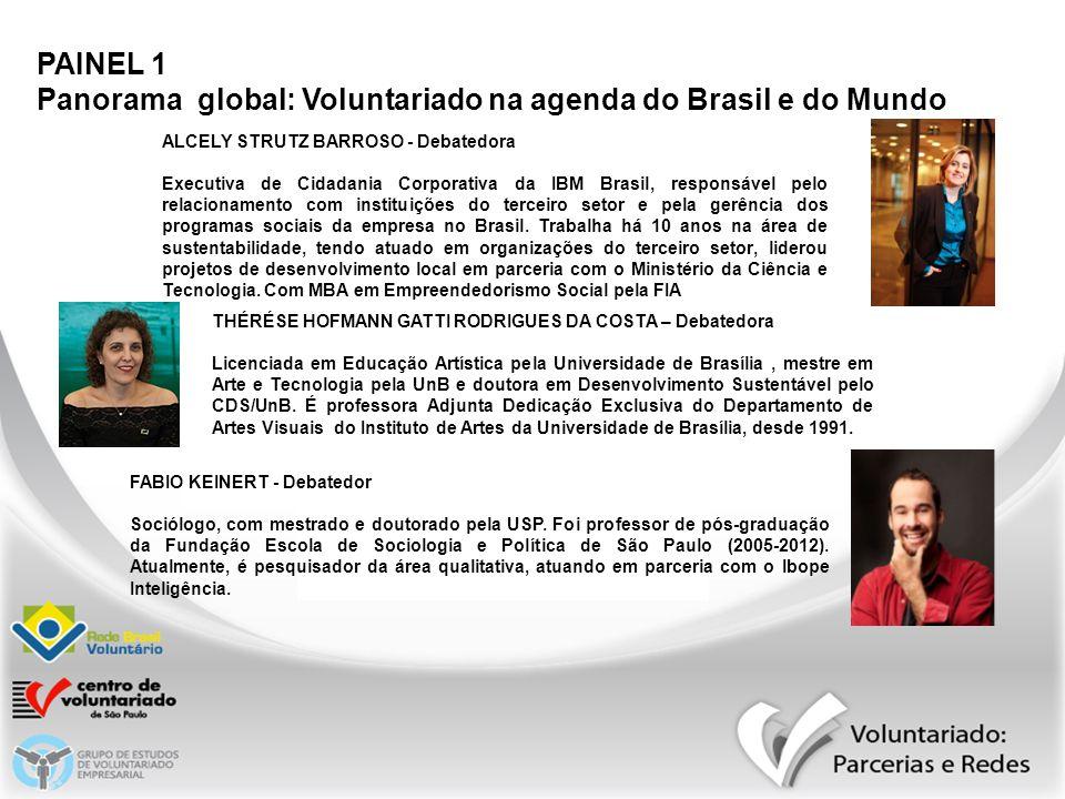 PAINEL 1 Panorama global: Voluntariado na agenda do Brasil e do Mundo ANA MARIA WARKEN DO VALE PEREIRA - Mediadora Fundadora e diretora executiva do IVA – Instituto Voluntários em Ação (SC), desde 1998.