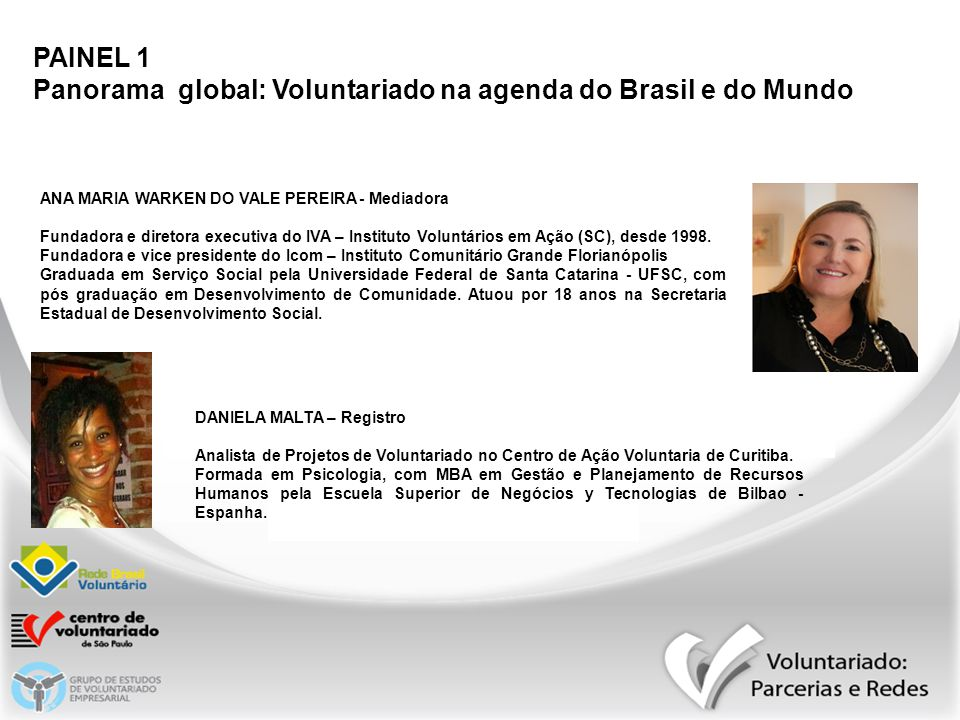 PAINEL 1 Panorama global: Voluntariado na agenda do Brasil e do Mundo ANA MARIA WARKEN DO VALE PEREIRA - Mediadora Fundadora e diretora executiva do I