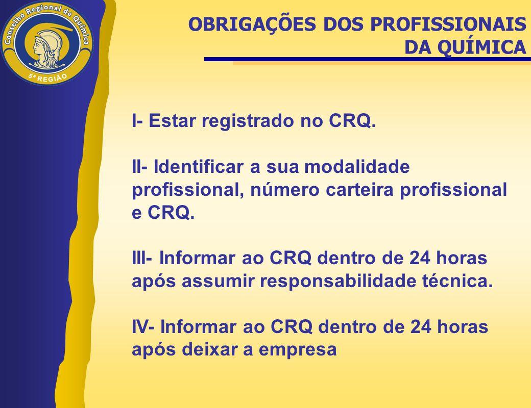 I- Estar registrado no CRQ. II- Identificar a sua modalidade profissional, número carteira profissional e CRQ. III- Informar ao CRQ dentro de 24 horas
