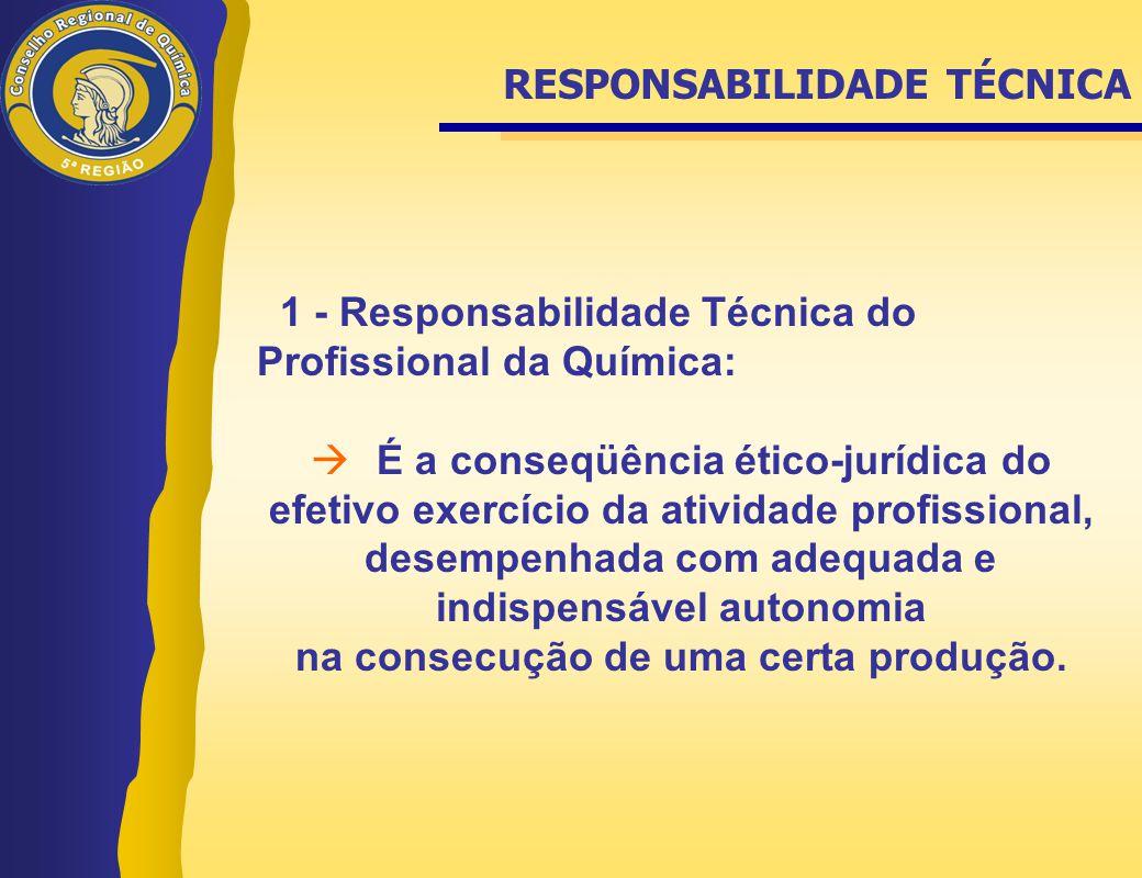 1 - Responsabilidade Técnica do Profissional da Química:  É a conseqüência ético-jurídica do efetivo exercício da atividade profissional, desempenhad