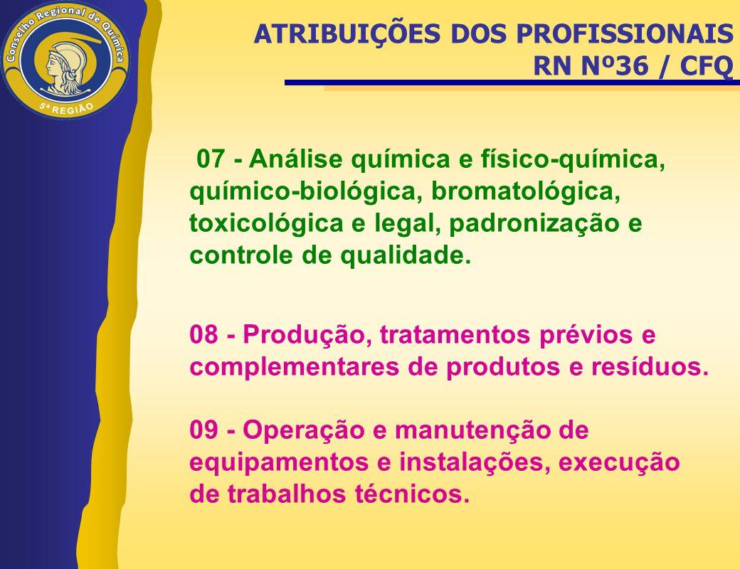 07 - Análise química e físico-química, químico-biológica, bromatológica, toxicológica e legal, padronização e controle de qualidade. 08 - Produção, tr