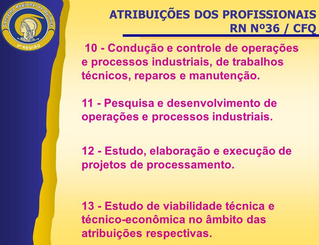 10 - Condução e controle de operações e processos industriais, de trabalhos técnicos, reparos e manutenção. 11 - Pesquisa e desenvolvimento de operaçõ