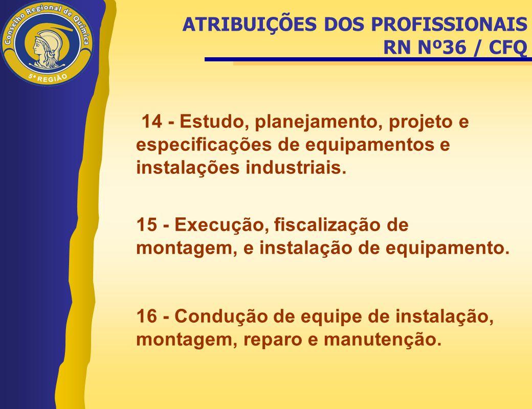 14 - Estudo, planejamento, projeto e especificações de equipamentos e instalações industriais. 15 - Execução, fiscalização de montagem, e instalação d