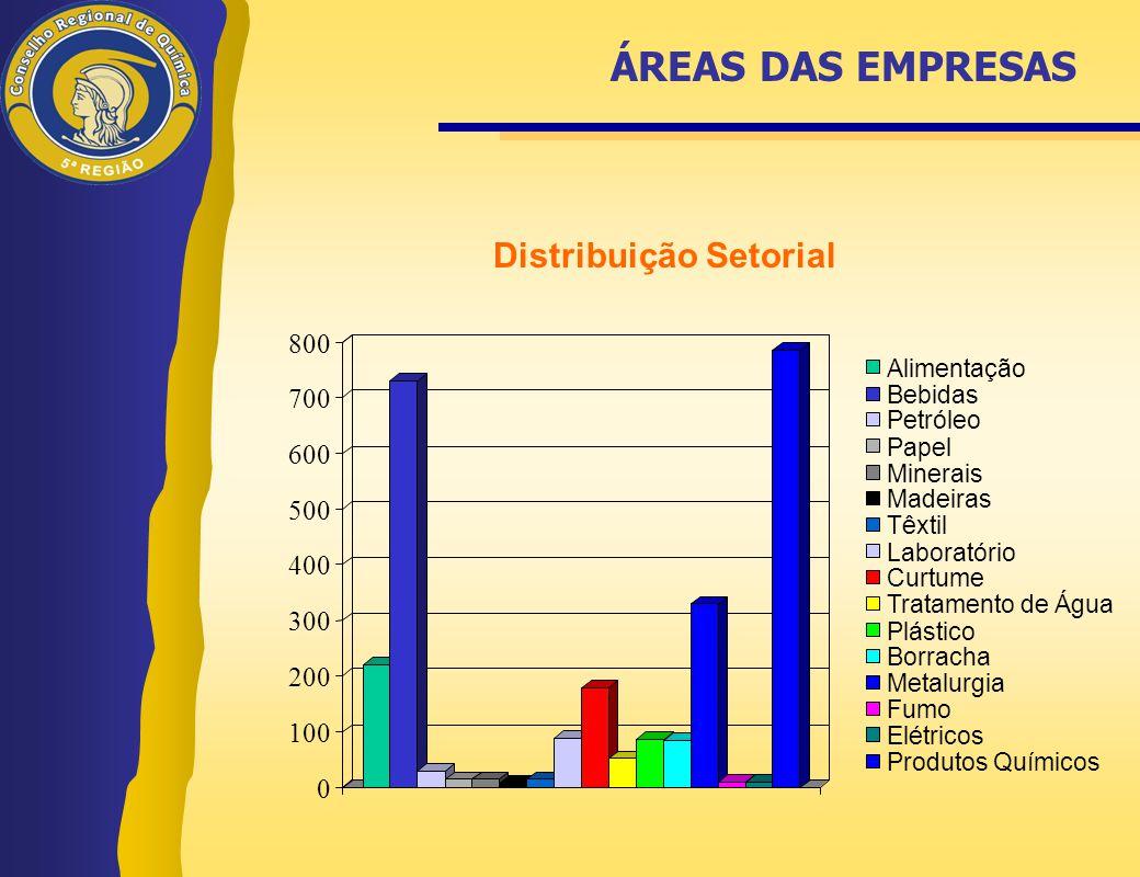 ÁREAS DAS EMPRESAS Distribuição Setorial