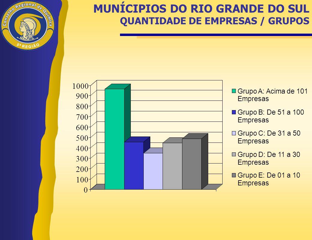 MUNÍCIPIOS DO RIO GRANDE DO SUL QUANTIDADE DE EMPRESAS / GRUPOS 0 100 200 300 400 500 600 700 800 900 1000 Grupo A: Acima de 101 Empresas Grupo B: De