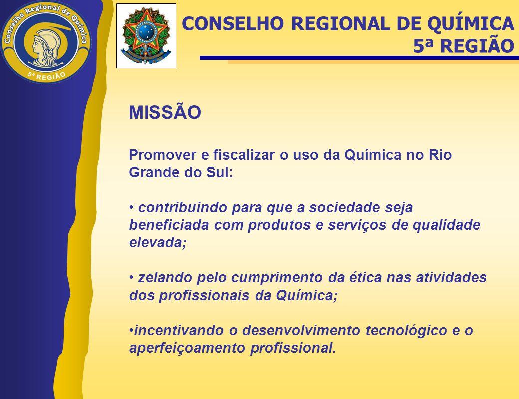 MISSÃO Promover e fiscalizar o uso da Química no Rio Grande do Sul: • contribuindo para que a sociedade seja beneficiada com produtos e serviços de qu