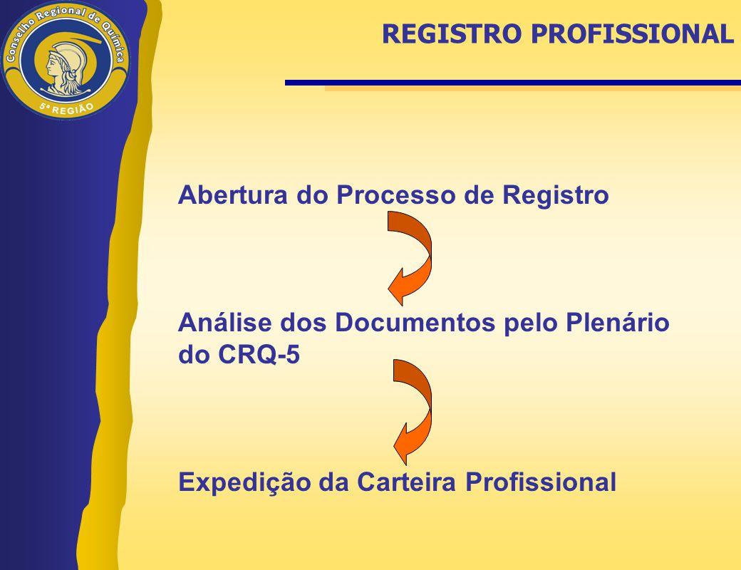 Abertura do Processo de Registro Análise dos Documentos pelo Plenário do CRQ-5 Expedição da Carteira Profissional REGISTRO PROFISSIONAL