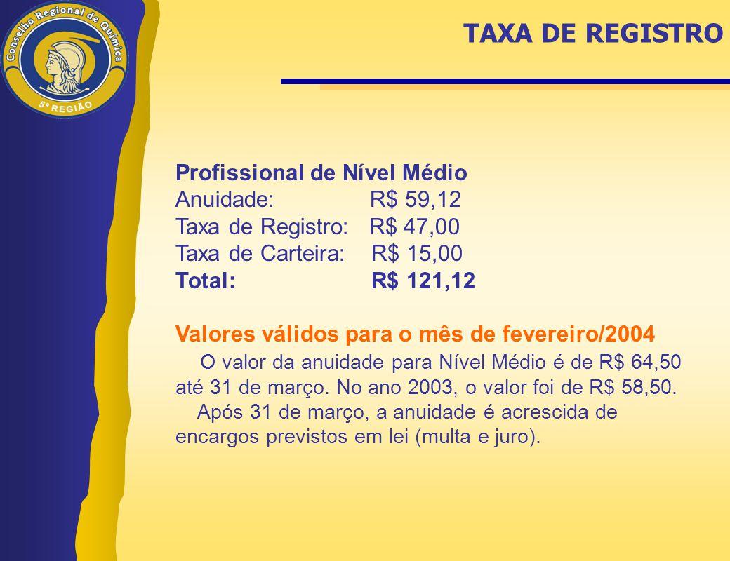 Profissional de Nível Médio Anuidade: R$ 59,12 Taxa de Registro: R$ 47,00 Taxa de Carteira: R$ 15,00 Total: R$ 121,12 Valores válidos para o mês de fe