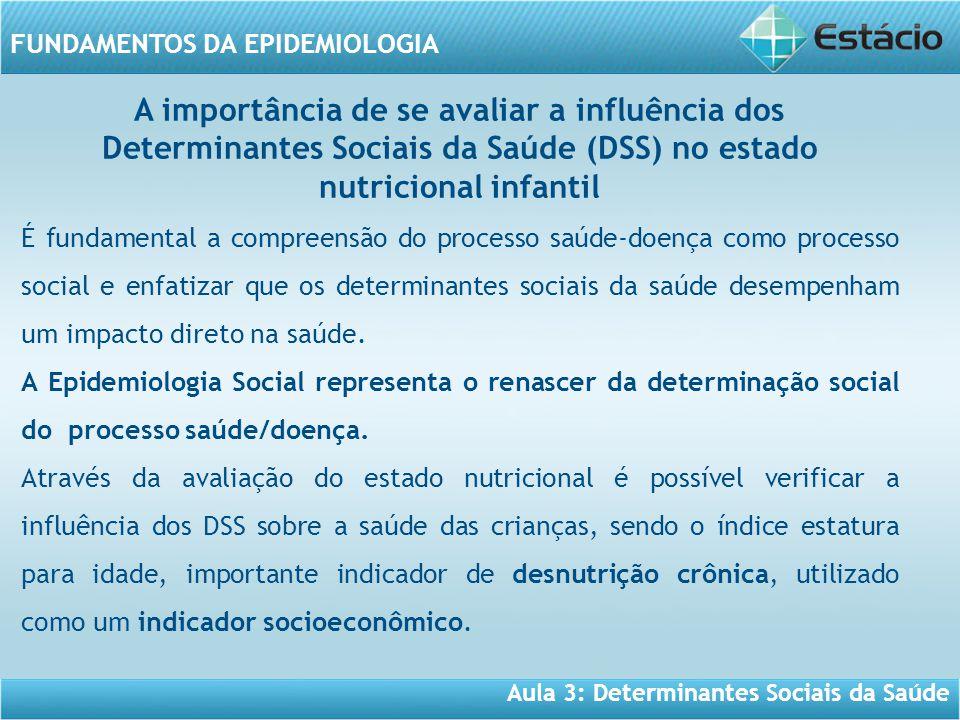 Aula 3: Determinantes Sociais da Saúde FUNDAMENTOS DA EPIDEMIOLOGIA É fundamental a compreensão do processo saúde-doença como processo social e enfatizar que os determinantes sociais da saúde desempenham um impacto direto na saúde.