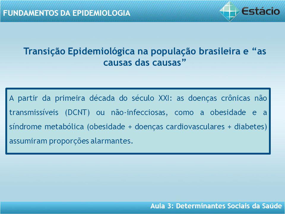 Aula 3: Determinantes Sociais da Saúde FUNDAMENTOS DA EPIDEMIOLOGIA A partir da primeira década do século XXI: as doenças crônicas não transmissíveis (DCNT) ou não-infecciosas, como a obesidade e a síndrome metabólica (obesidade + doenças cardiovasculares + diabetes) assumiram proporções alarmantes.