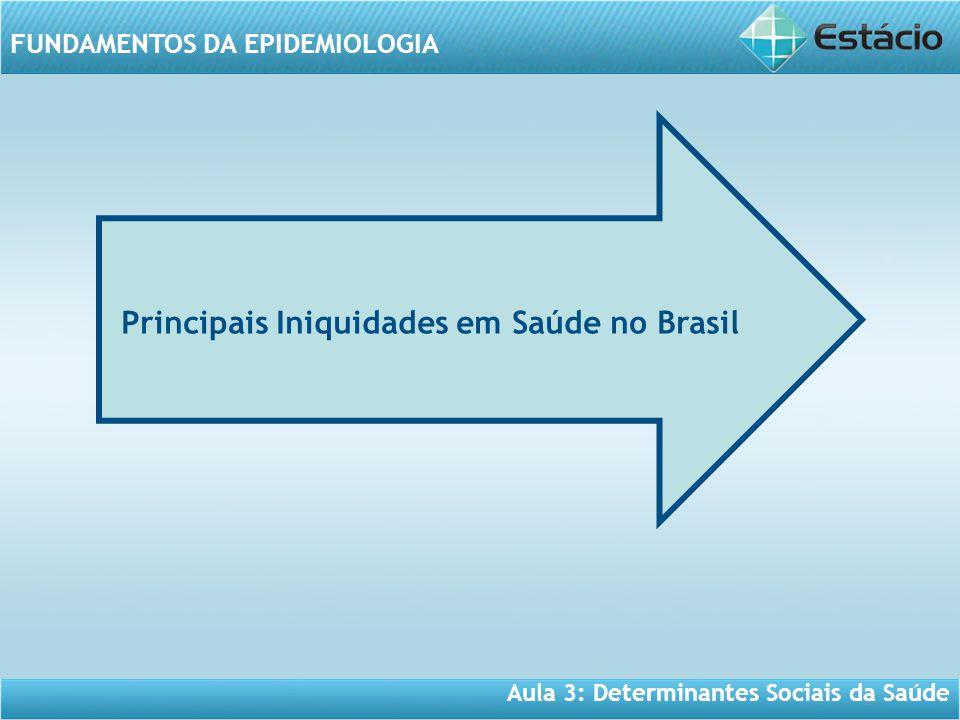 Aula 3: Determinantes Sociais da Saúde FUNDAMENTOS DA EPIDEMIOLOGIA Principais Iniquidades em Saúde no Brasil