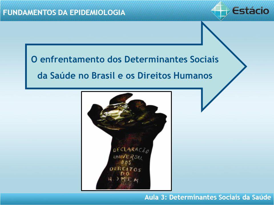 Aula 3: Determinantes Sociais da Saúde FUNDAMENTOS DA EPIDEMIOLOGIA O enfrentamento dos Determinantes Sociais da Saúde no Brasil e os Direitos Humanos