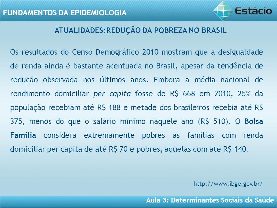 Aula 3: Determinantes Sociais da Saúde FUNDAMENTOS DA EPIDEMIOLOGIA Os resultados do Censo Demográfico 2010 mostram que a desigualdade de renda ainda é bastante acentuada no Brasil, apesar da tendência de redução observada nos últimos anos.