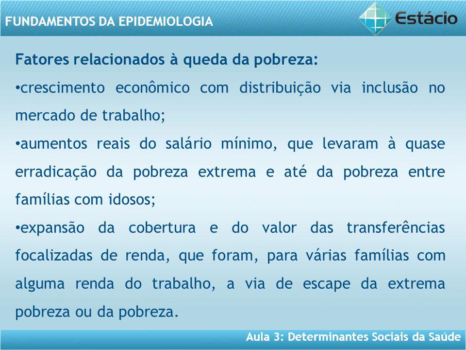 Aula 3: Determinantes Sociais da Saúde FUNDAMENTOS DA EPIDEMIOLOGIA Fatores relacionados à queda da pobreza: • crescimento econômico com distribuição