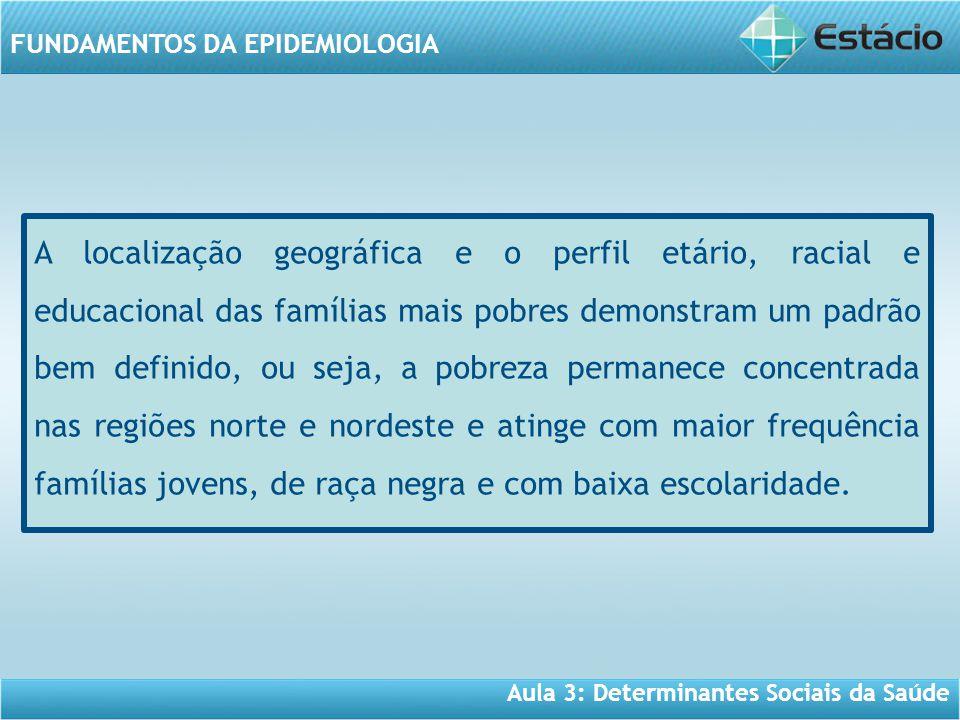 Aula 3: Determinantes Sociais da Saúde FUNDAMENTOS DA EPIDEMIOLOGIA A localização geográfica e o perfil etário, racial e educacional das famílias mais