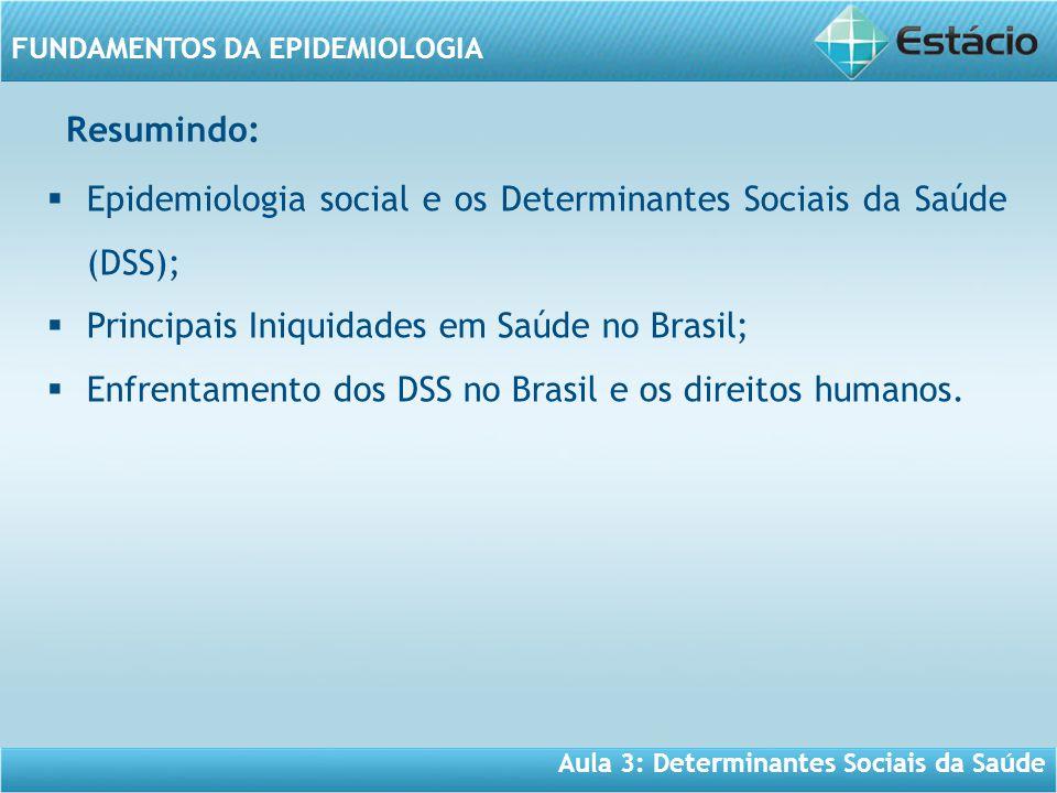 Aula 3: Determinantes Sociais da Saúde FUNDAMENTOS DA EPIDEMIOLOGIA  Epidemiologia social e os Determinantes Sociais da Saúde (DSS);  Principais Iniquidades em Saúde no Brasil;  Enfrentamento dos DSS no Brasil e os direitos humanos.