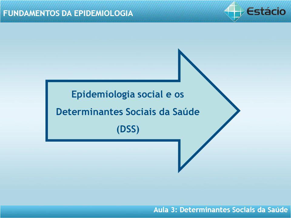 Aula 3: Determinantes Sociais da Saúde FUNDAMENTOS DA EPIDEMIOLOGIA Epidemiologia social e os Determinantes Sociais da Saúde (DSS)