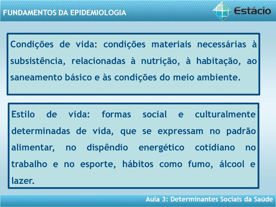 Aula 3: Determinantes Sociais da Saúde FUNDAMENTOS DA EPIDEMIOLOGIA Condições de vida: condições materiais necessárias à subsistência, relacionadas à