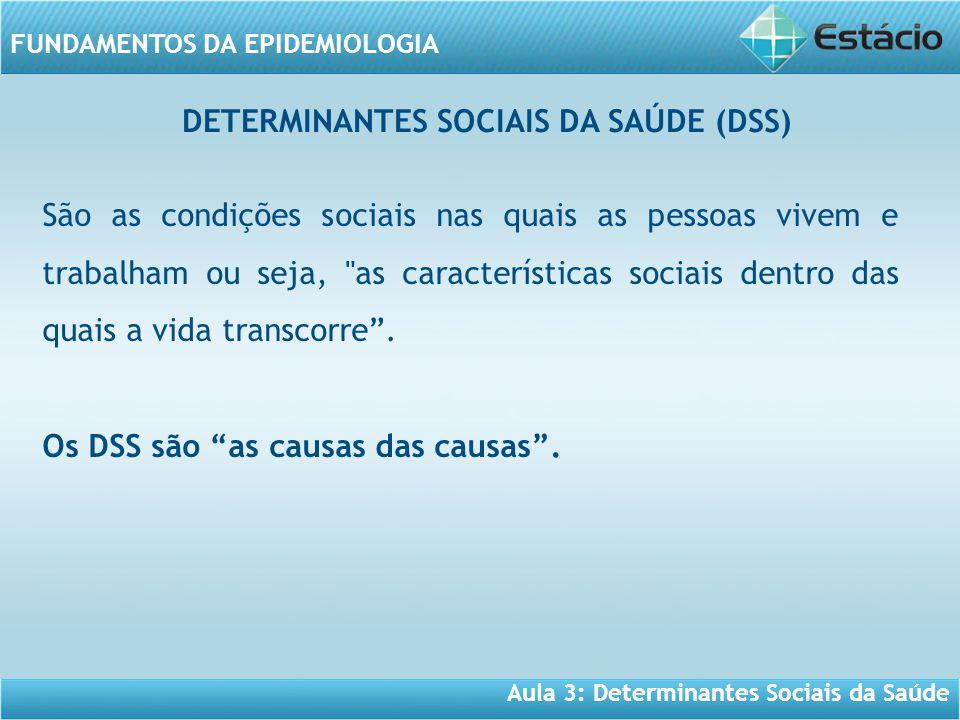 Aula 3: Determinantes Sociais da Saúde FUNDAMENTOS DA EPIDEMIOLOGIA São as condições sociais nas quais as pessoas vivem e trabalham ou seja,