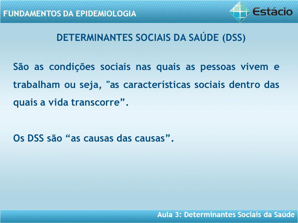 Aula 3: Determinantes Sociais da Saúde FUNDAMENTOS DA EPIDEMIOLOGIA São as condições sociais nas quais as pessoas vivem e trabalham ou seja, as características sociais dentro das quais a vida transcorre .