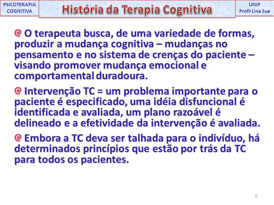 O terapeuta busca, de uma variedade de formas, produzir a mudança cognitiva – mudanças no pensamento e no sistema de crenças do paciente – visando pro