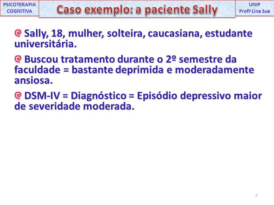 Sally, 18, mulher, solteira, caucasiana, estudante universitária. Sally, 18, mulher, solteira, caucasiana, estudante universitária. Buscou tratamento