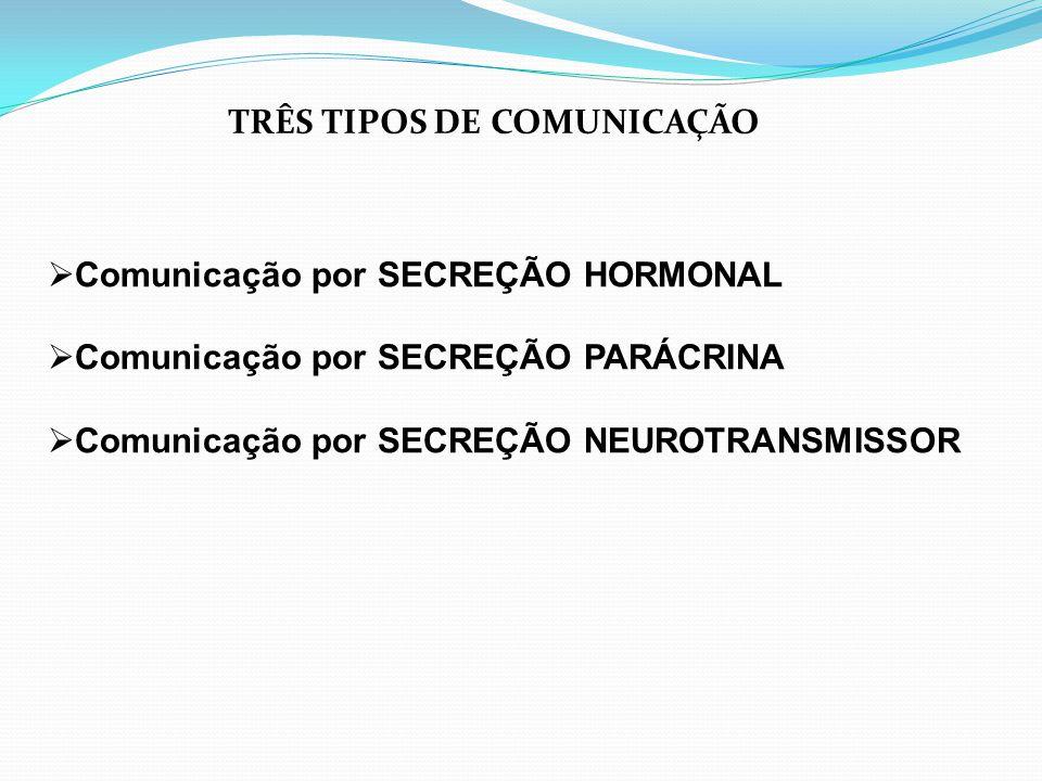 TRÊS TIPOS DE COMUNICAÇÃO  Comunicação por SECREÇÃO HORMONAL  Comunicação por SECREÇÃO PARÁCRINA  Comunicação por SECREÇÃO NEUROTRANSMISSOR