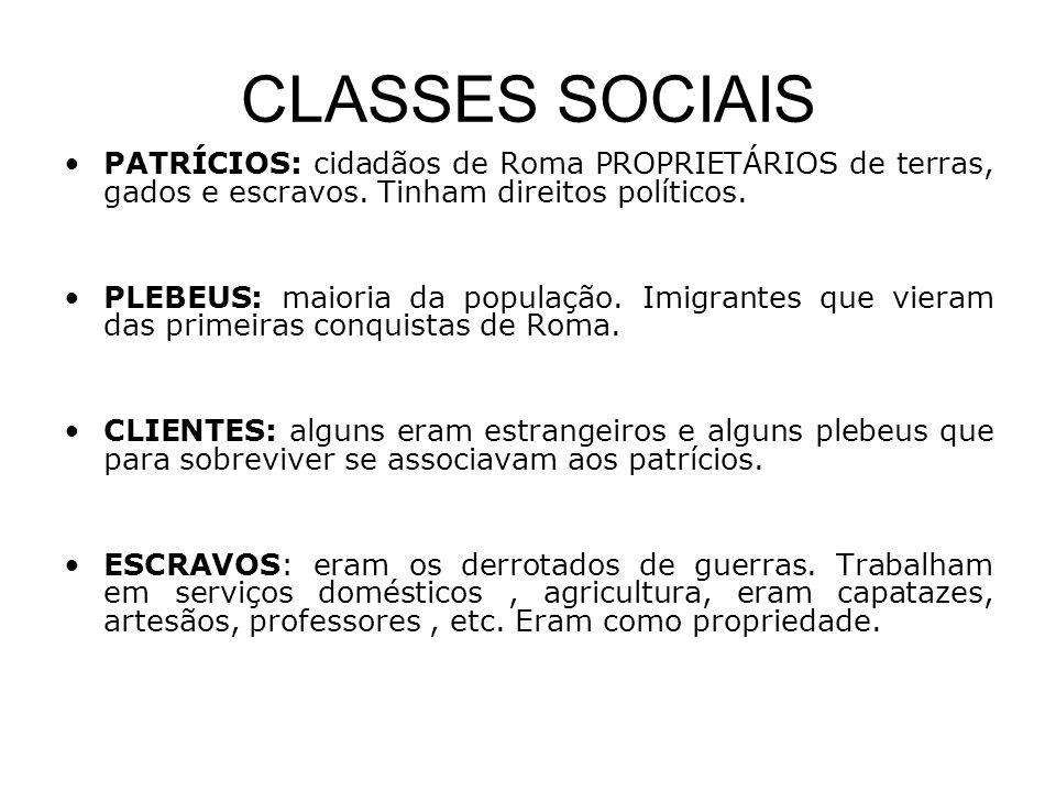 CLASSES SOCIAIS •PATRÍCIOS: cidadãos de Roma PROPRIETÁRIOS de terras, gados e escravos. Tinham direitos políticos. •PLEBEUS: maioria da população. Imi