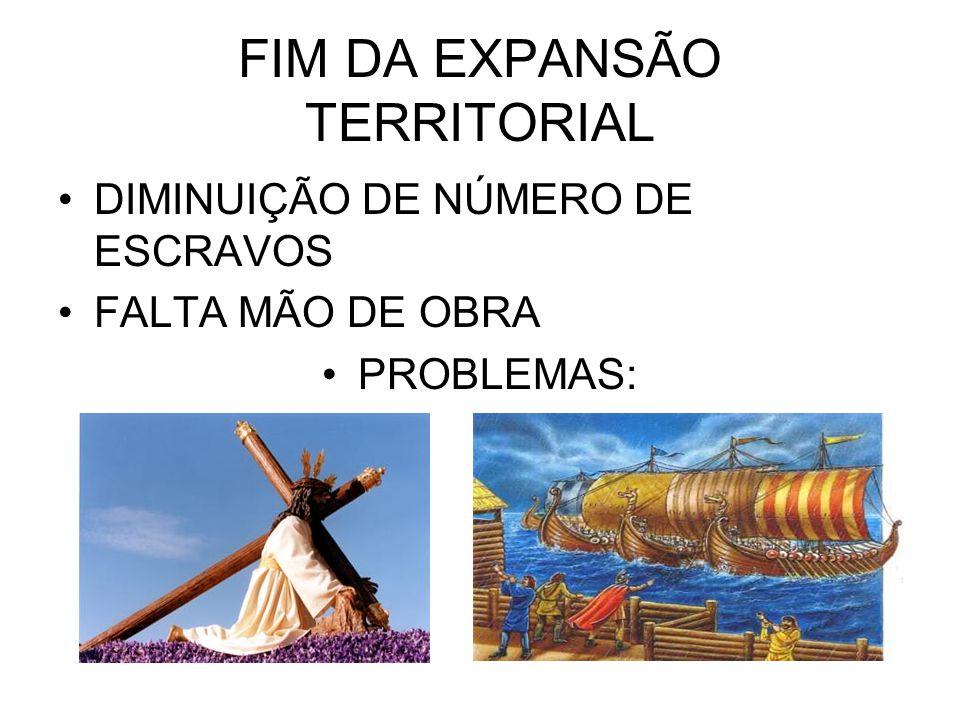 FIM DA EXPANSÃO TERRITORIAL •DIMINUIÇÃO DE NÚMERO DE ESCRAVOS •FALTA MÃO DE OBRA •PROBLEMAS: